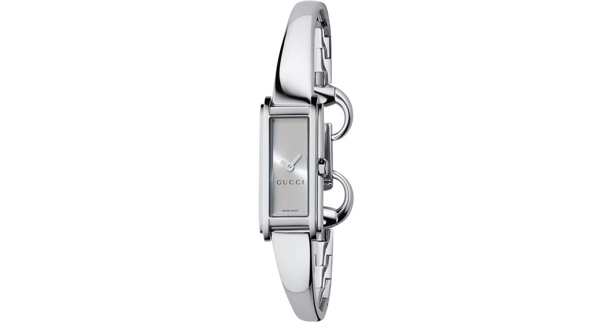 bea941572c5 Gucci Womens Gline Silver Oblong Dial Bangle Watch in Metallic - Lyst