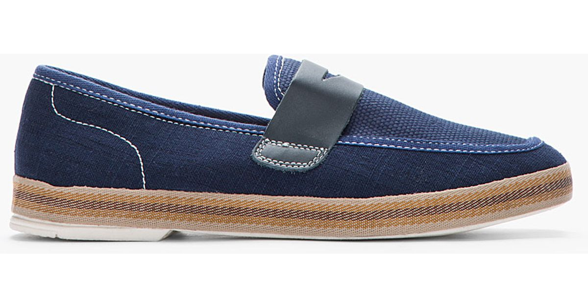944bca4951a Lyst - H by Hudson Navy Blue Canvas and Leather Antara Penny Loafers in Blue  for Men