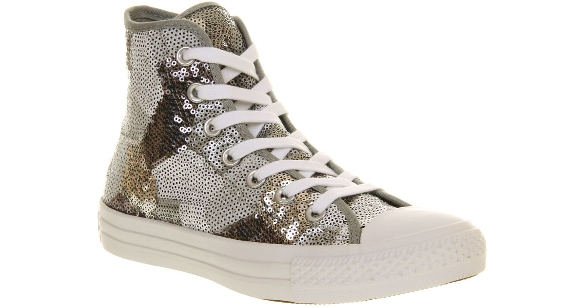 5a84004aee2a Lyst - Converse All Star Hi Silver Sequin in Metallic for Men