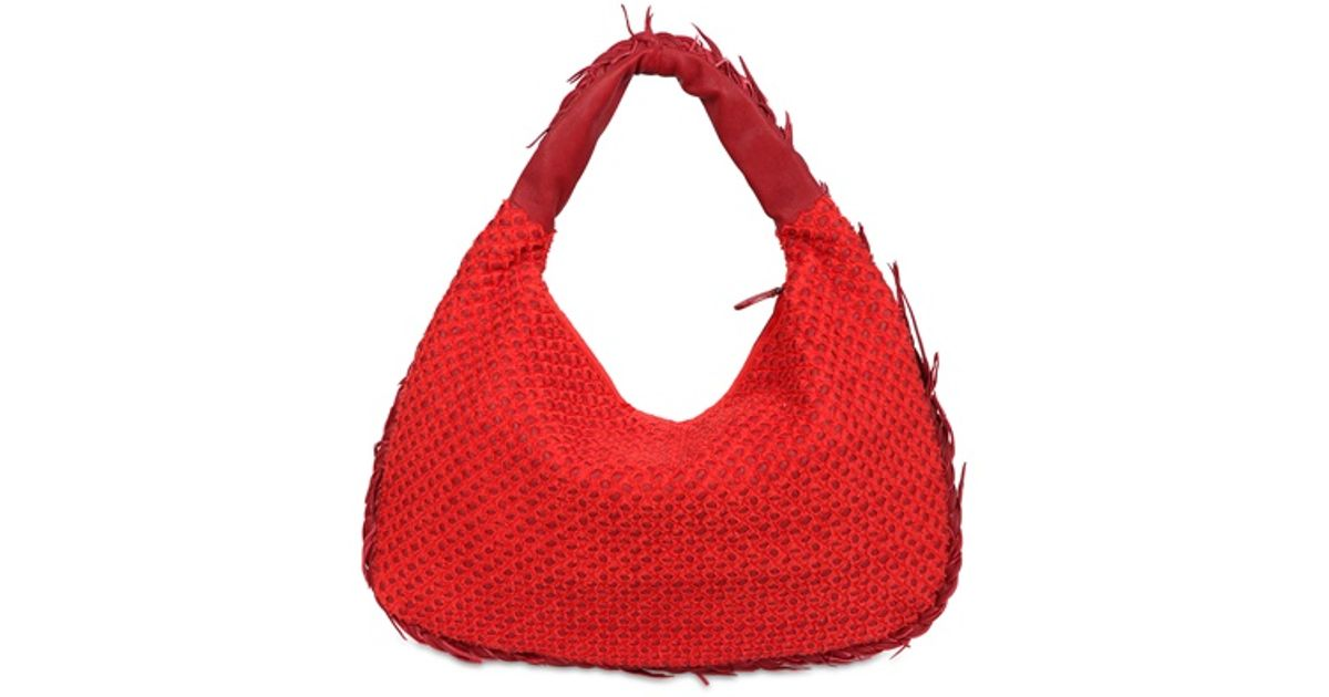 Lyst - Bottega Veneta Medium Veneta Mini Ponza Top Handle in Red 80b12d7df6765
