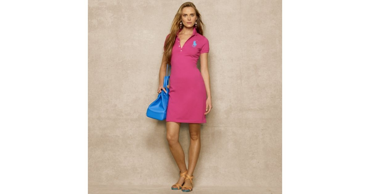 Ralph Lauren Medium M PINK POLO DRESS BLUE PONY NWT