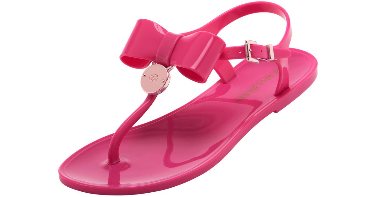 7b81f9722 Lyst - Mulberry Jelly Bow Tbar Sandal in Pink