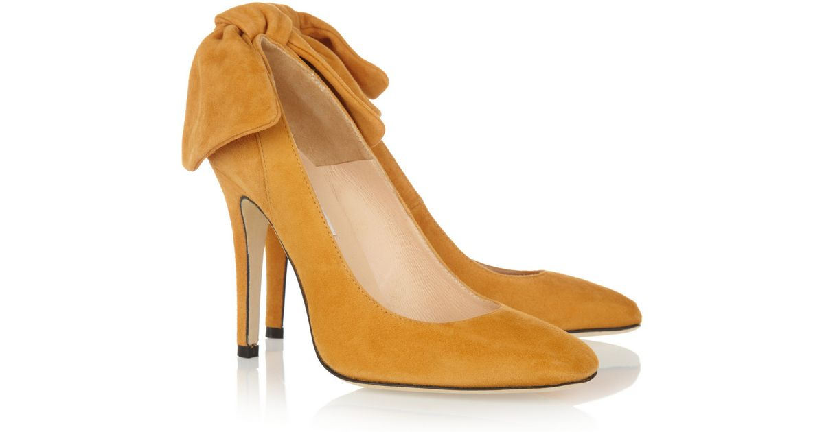 Carven Bowembellished Suede Pumps in Yellow | Lyst