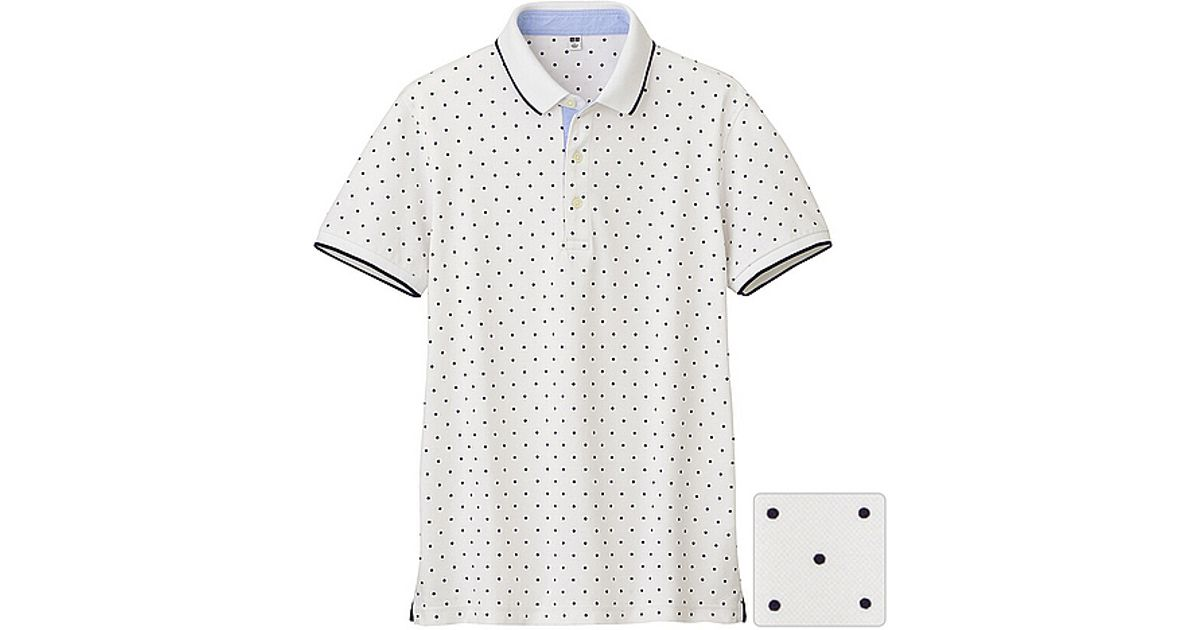 62bd487a Lyst - Uniqlo Dry Pique Printed Short Sleeve Polo Shirt J in White for Men