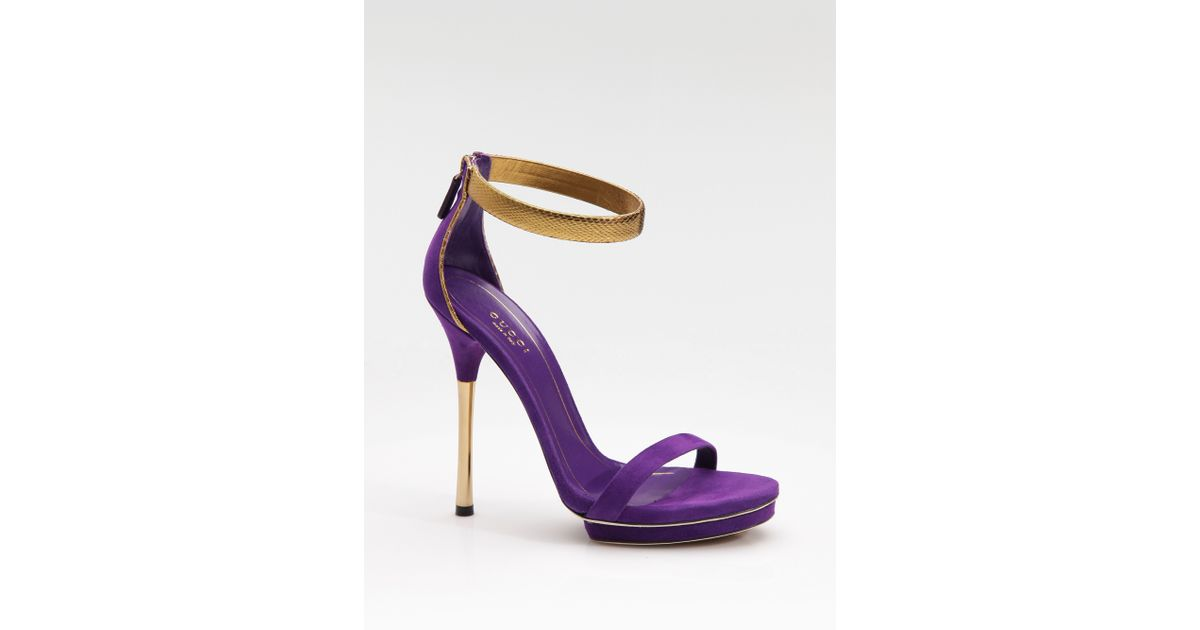 d6a4fb2ae66 Lyst - Gucci Kelis Suede Python Anklestrap Platform Sandals in Purple
