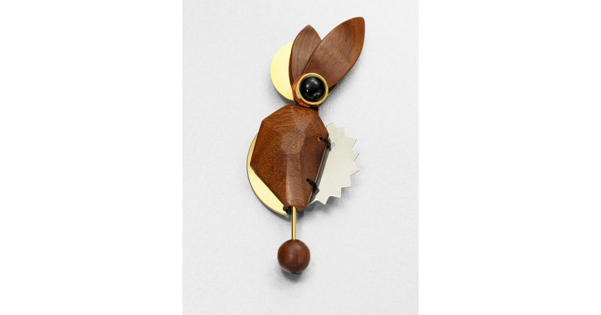 Marni Brown Abstract Wood Brooch
