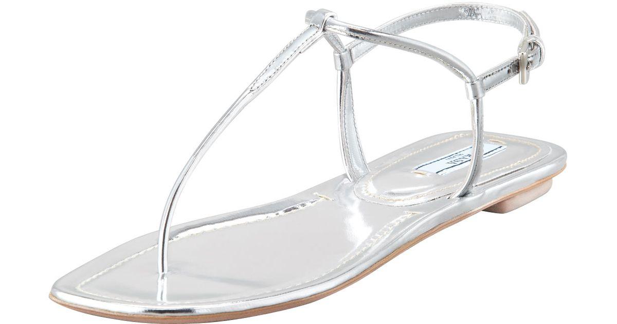 39ff106285b Lyst - Prada Flat Metallic Leather Thong Sandal Silve in Metallic