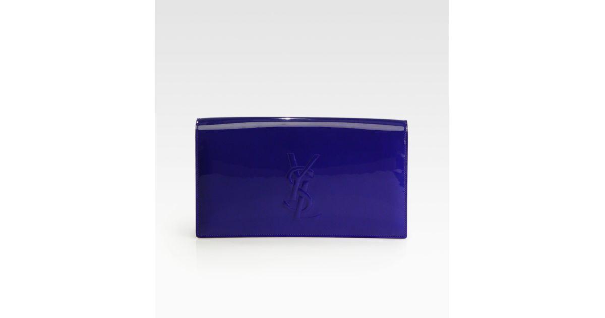 yves laurent handbags - Saint laurent Belle De Jour Patent Leather Clutch in Blue (blue ...