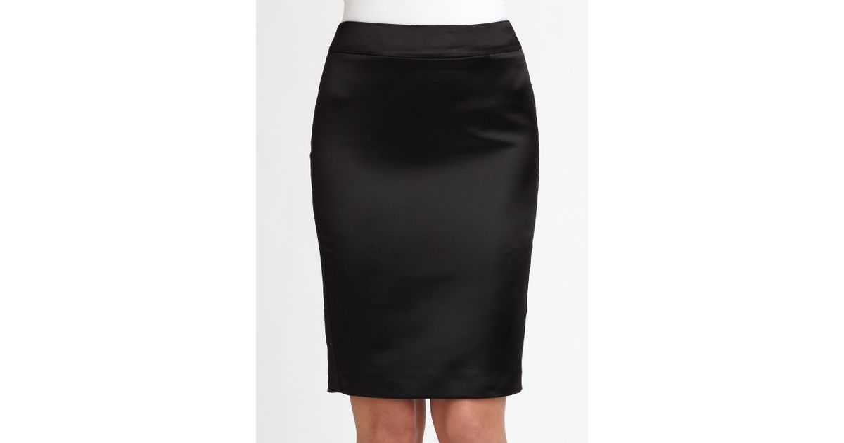 51930ee0d32744 Armani Duchess Satin Pencil Skirt in Black - Lyst