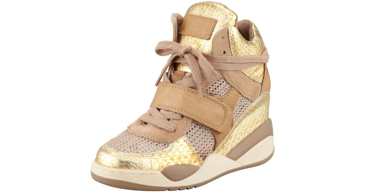 Lyst - Ash Funky Metallic Hitop Wedge Sneaker Gold in Metallic 48a0f2db5