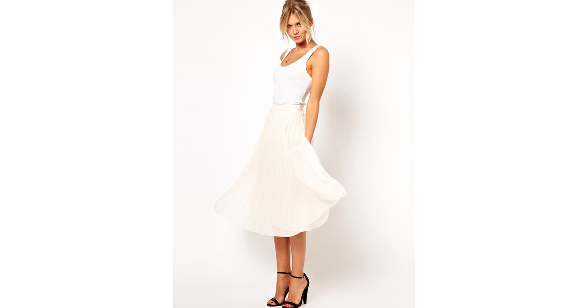 Asos Midi Skirt With Pleats in White | Lyst