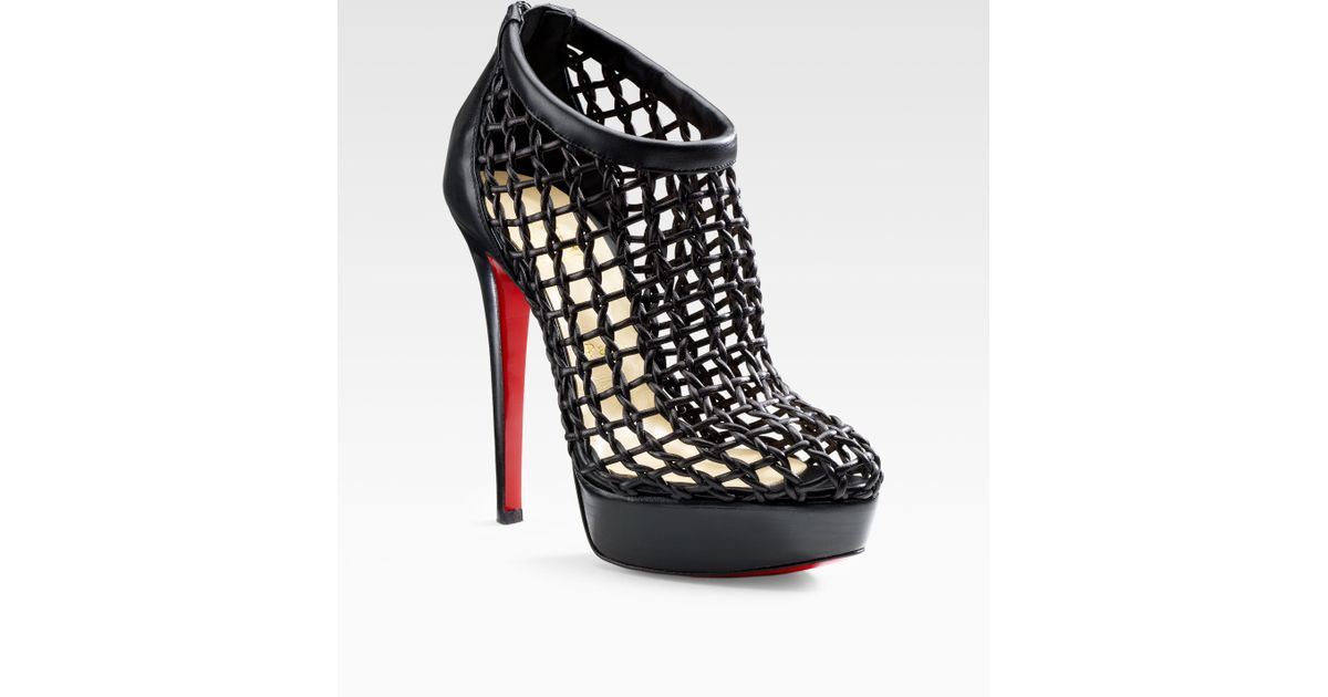 low priced 2f7e6 98dd0 Christian Louboutin Black Coussin Caged Ankle Boots