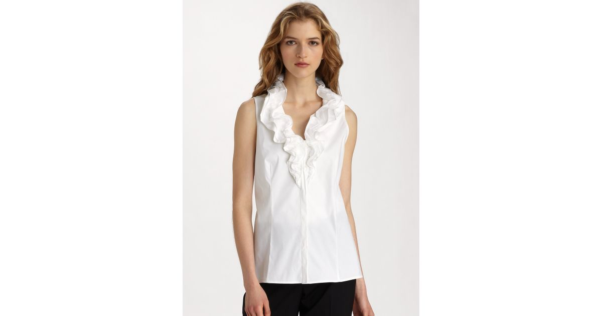 87d86bbed7e63b Lafayette 148 New York Tessa Stretch Cotton Sleeveless Ruffle Blouse in  White - Lyst