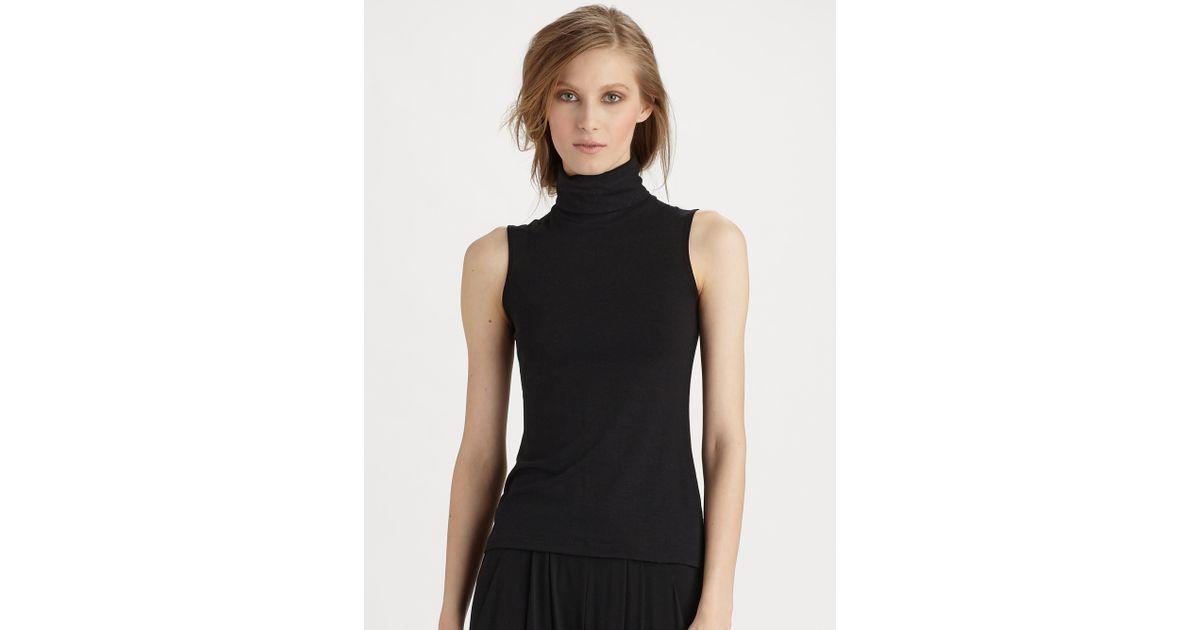 01e8c4ea0f4d1 Lyst - Donna Karan Sleeveless Turtleneck Top in Black