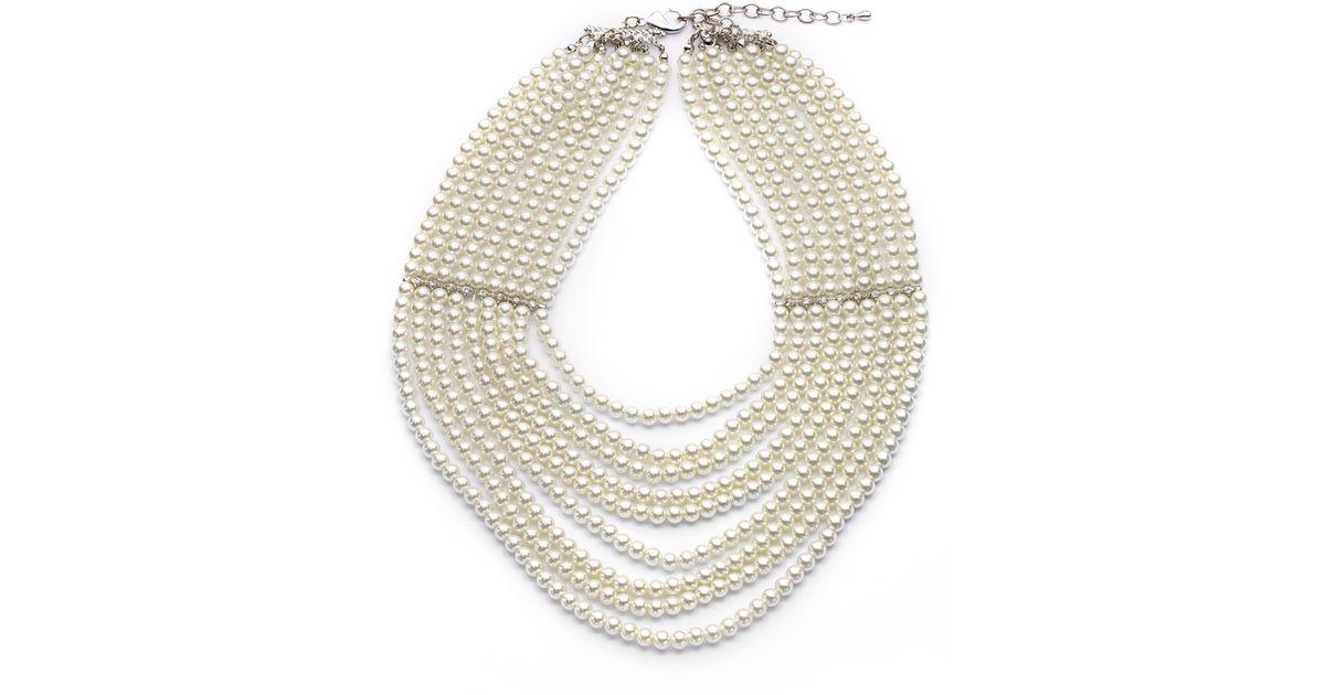 6ba8c81e5c3fb Kenneth Jay Lane Natural Multistrand Faux Pearl Bib Necklace