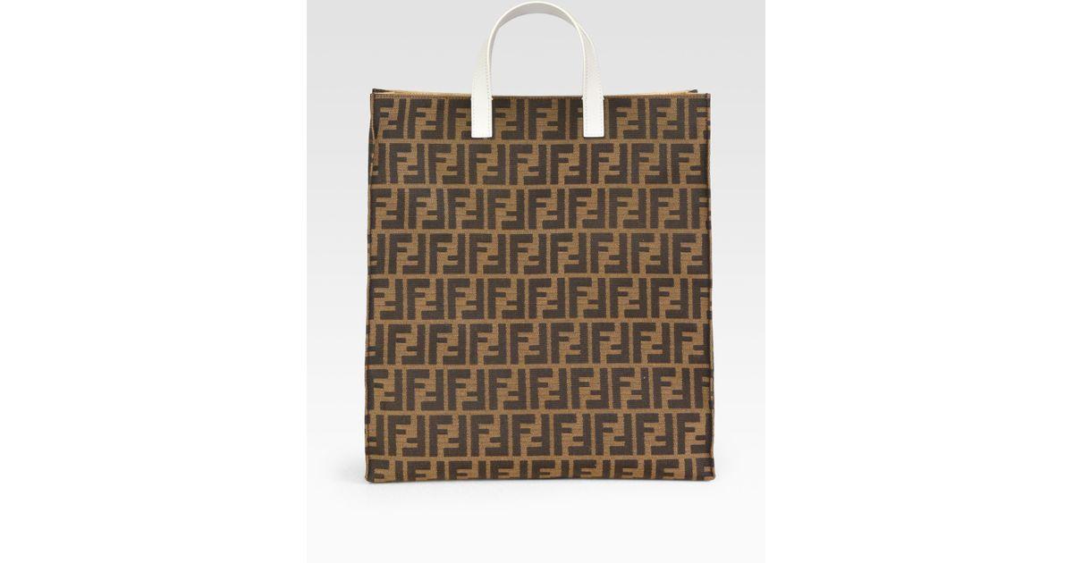 a8ae7b3b266 Fendi Zucca Always Jacquard Shopper in Brown - Lyst