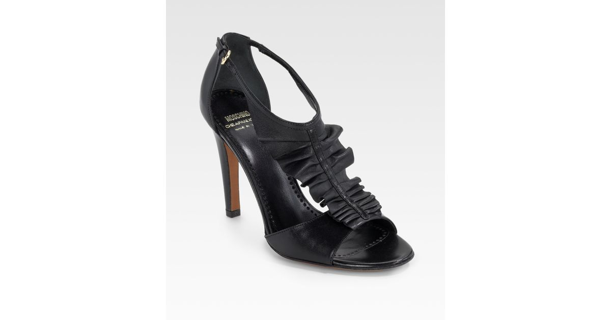 01696ad859a375 Lyst - Moschino Ruffle High Heel Thong Sandals in Black