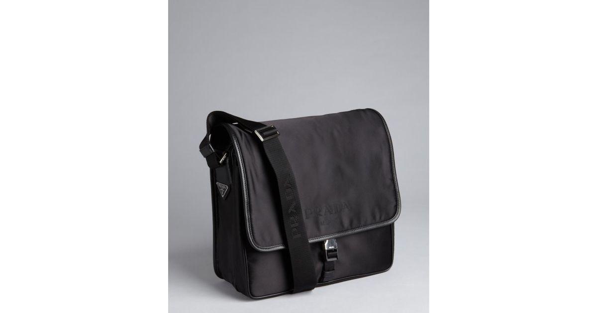 Prada Leather Trim Messenger Bag in Black for Men | Lyst - Prada Toro leather flap shoulder bag