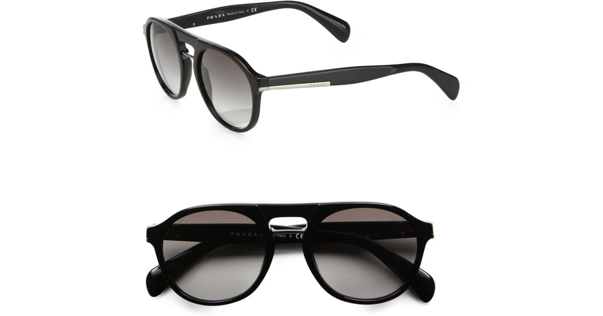 6d5a7cff8d3 Lyst - Prada Plastic Keyhole Sunglasses in Black for Men