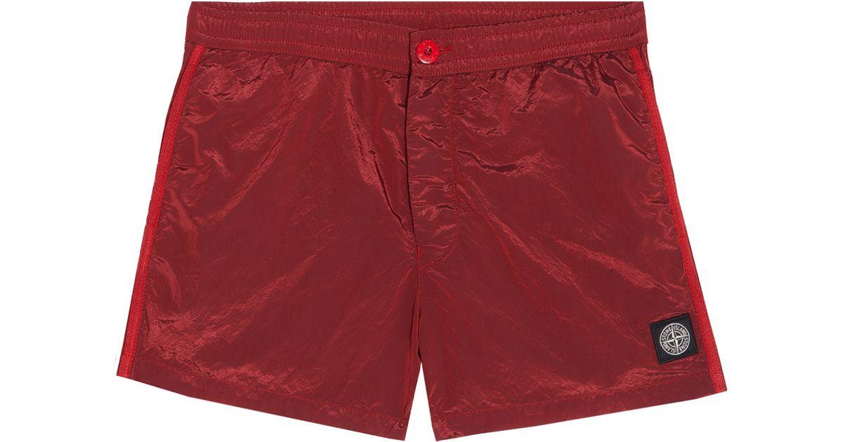 30e1ec0dd1ee Lyst - Stone Island Nylon Metal Swim Shorts in Red for Men