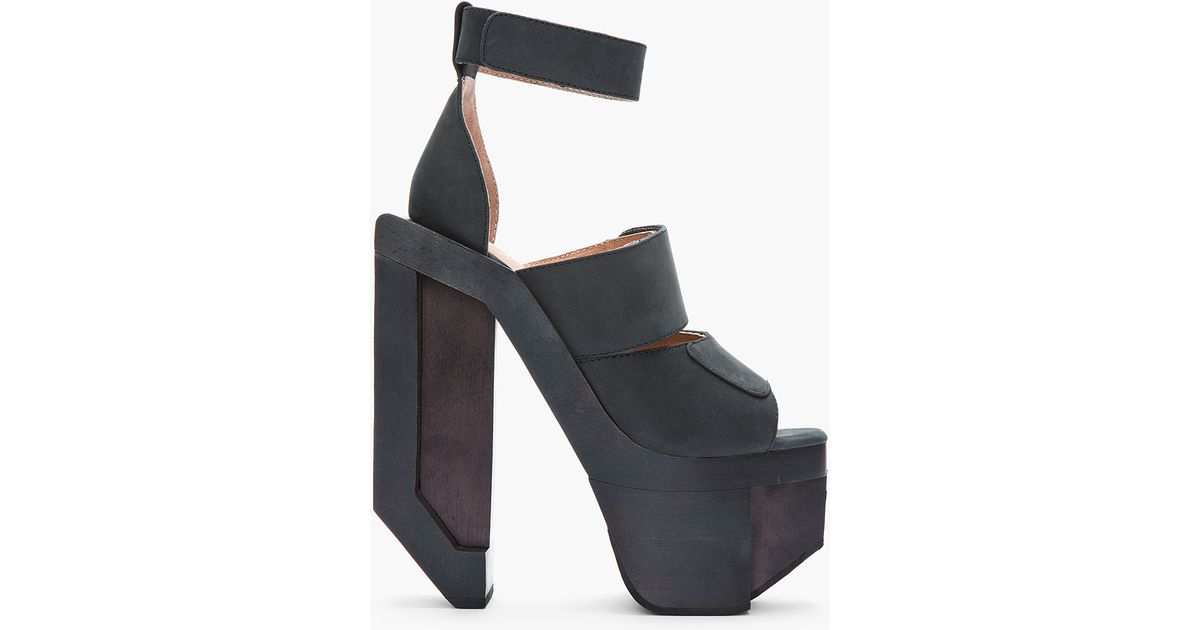Jeffrey campbell Black Nubuck Chunky Wooden Eggert Heels in Black ...