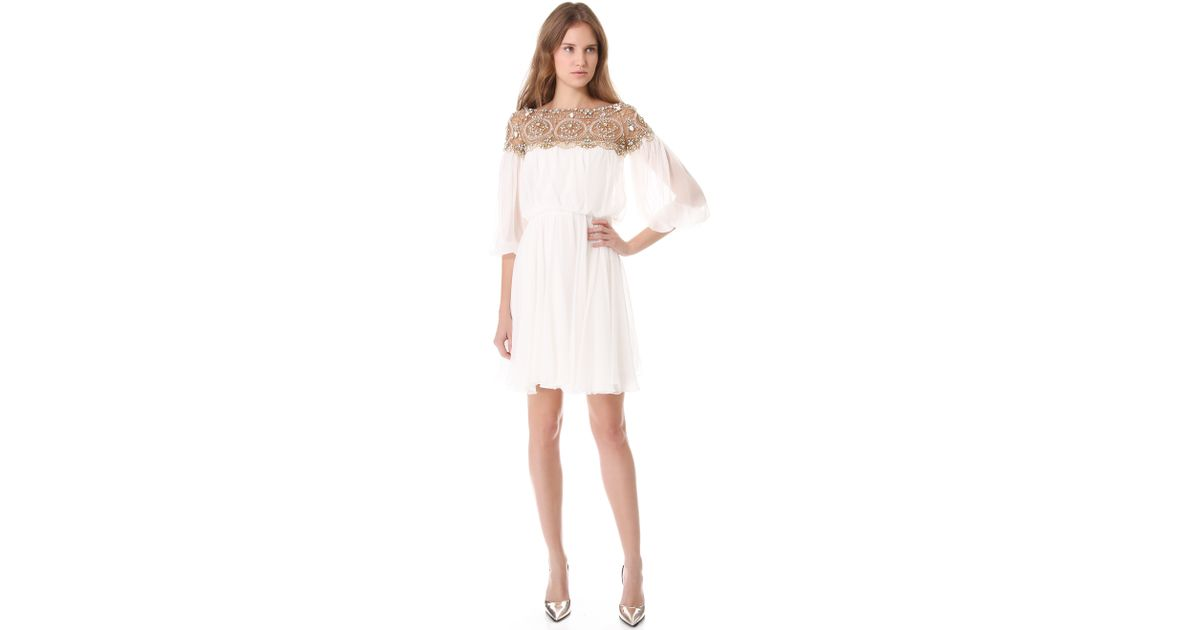 lyst marchesa long sleeve cocktail dress in white