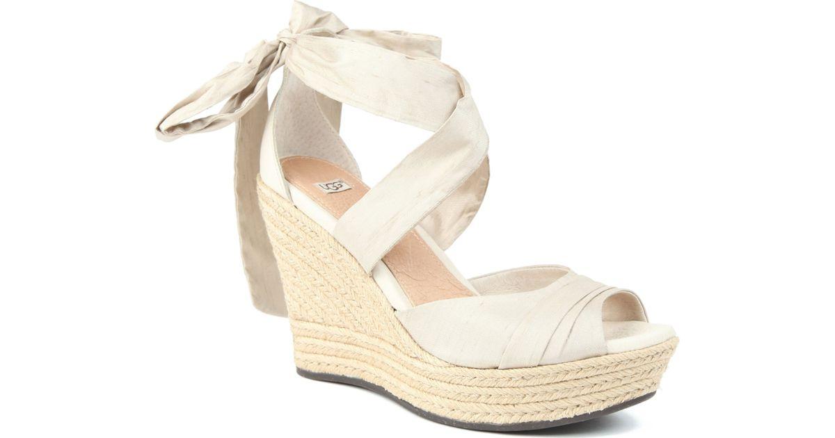 e758dfc36a75 UGG Lucianna Silk Wedge Sandals in White - Lyst
