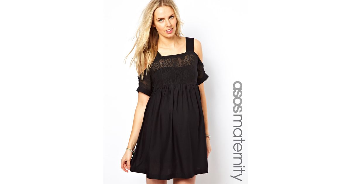 Lyst Asos Crochet Lace Dress With Cold Shoulder In Black