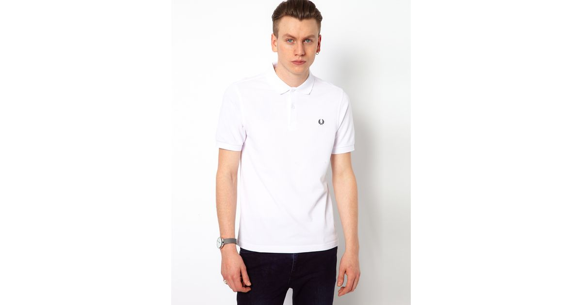 ae6b5863 ASOS Fred Perry Slim Fit Plain Polo in White for Men - Lyst