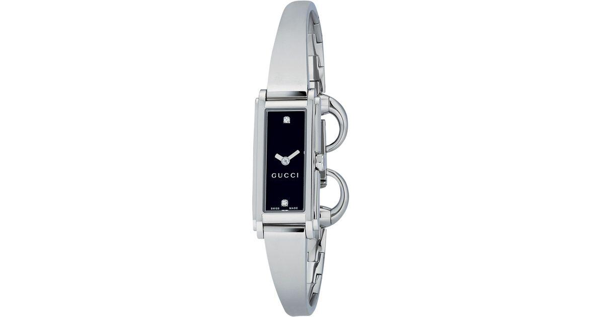 28a92b8b561 Gucci Women'S G-Line Oblong Diamond Dial Steel Bangle Watch in Metallic -  Lyst