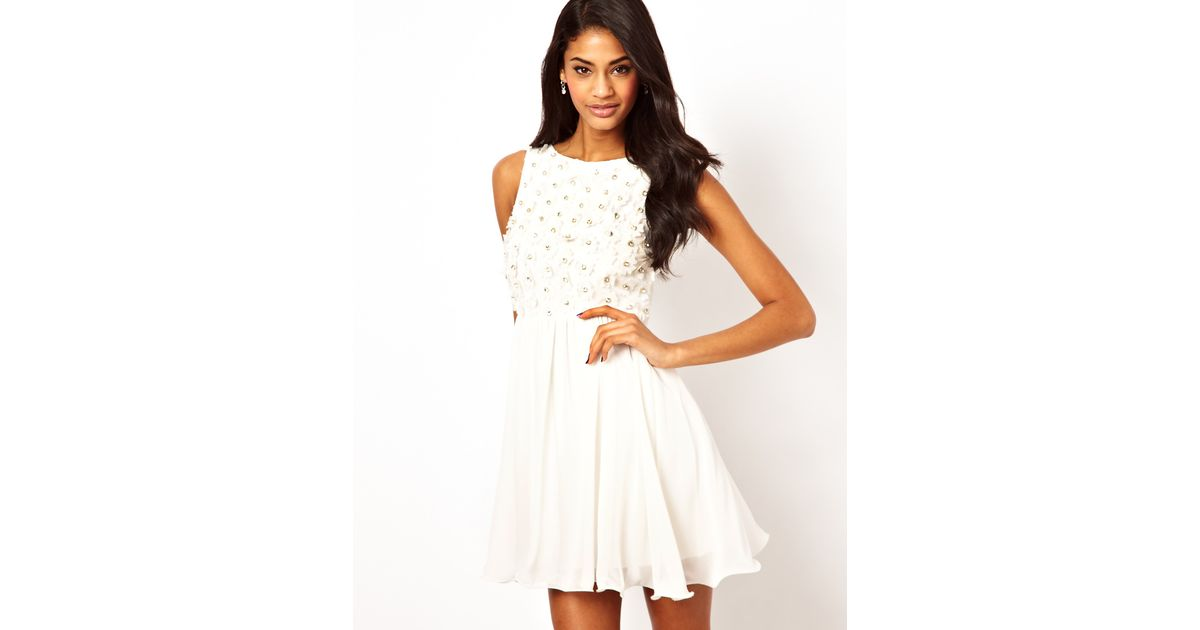 Lyst tfnc london babydoll dress with applique jewels in white