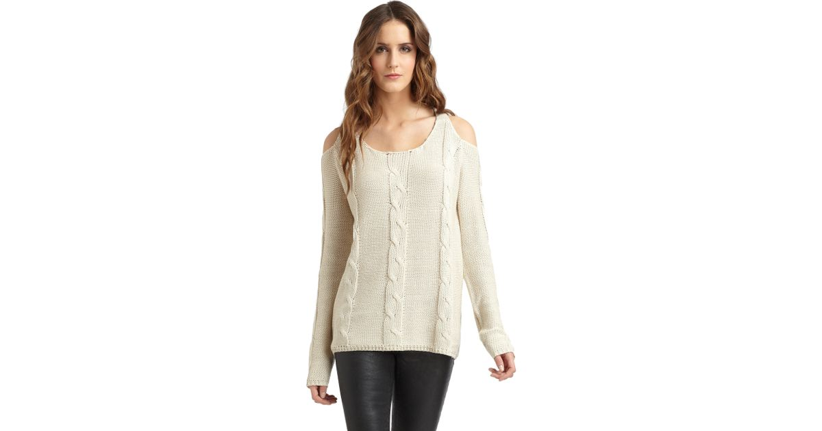 Aro Open Shoulder Cableknit Sweater in Natural | Lyst
