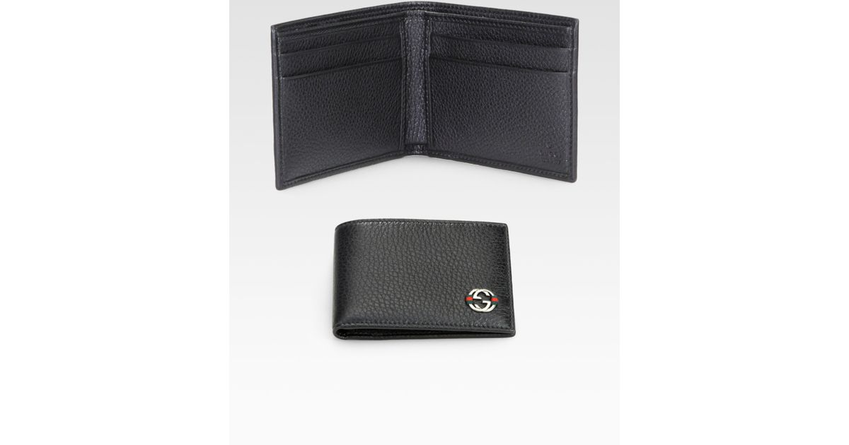 c9337c41a1 Gucci Ace Leather Small Bifold Wallet in Black for Men - Lyst