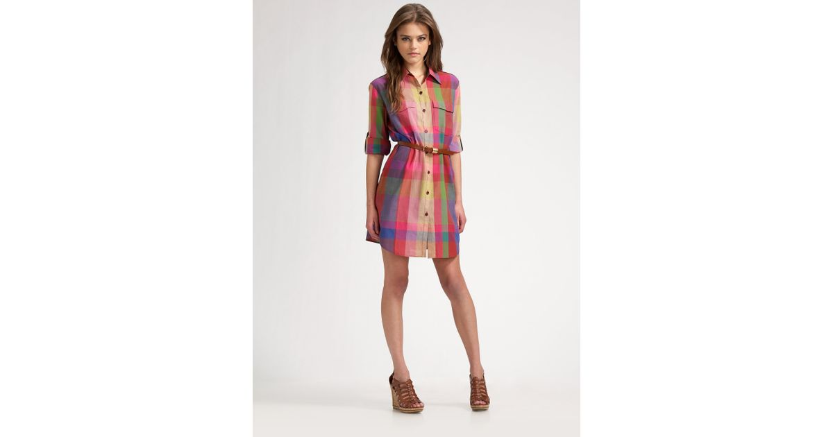 73832013ac Theory Virgilia Madras Plaid Shirt-dress in Red - Lyst