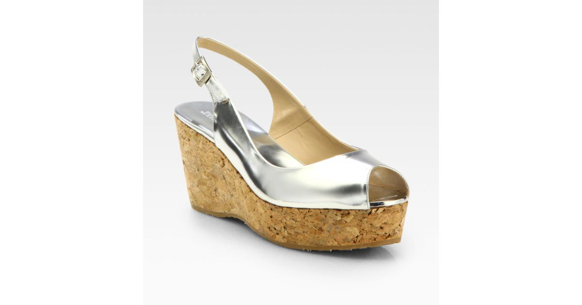 Cork Jimmy Metallic Sandals Leather Wedge Choo Praise VqzUMpSG