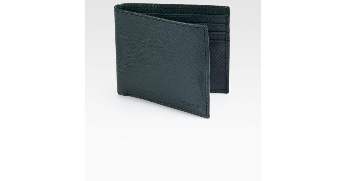 Prada Saffiano Leather Bifold Wallet in Green for Men (emerald) | Lyst