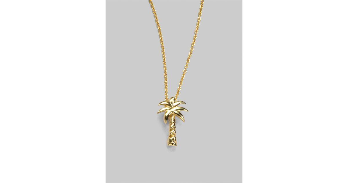 567341dc36e24 Roberto Coin Metallic Tiny Treasures 18k Yellow Gold Palm Tree Pendant  Necklace