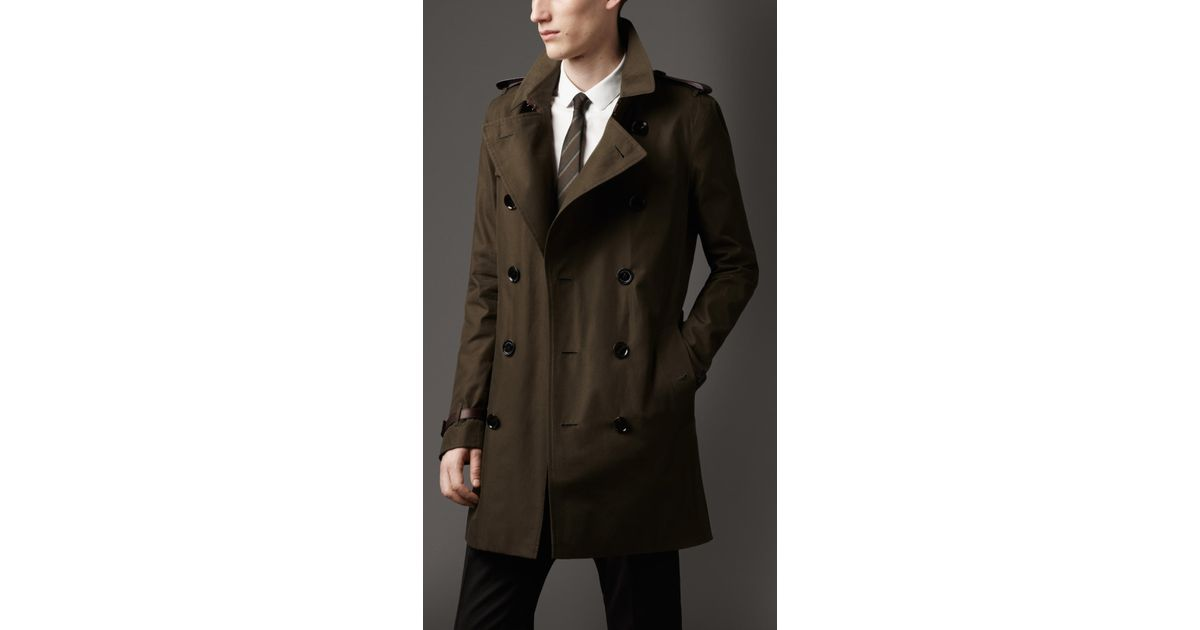 Burberry Midlength Leather Trim Gabardine Trench Coat In