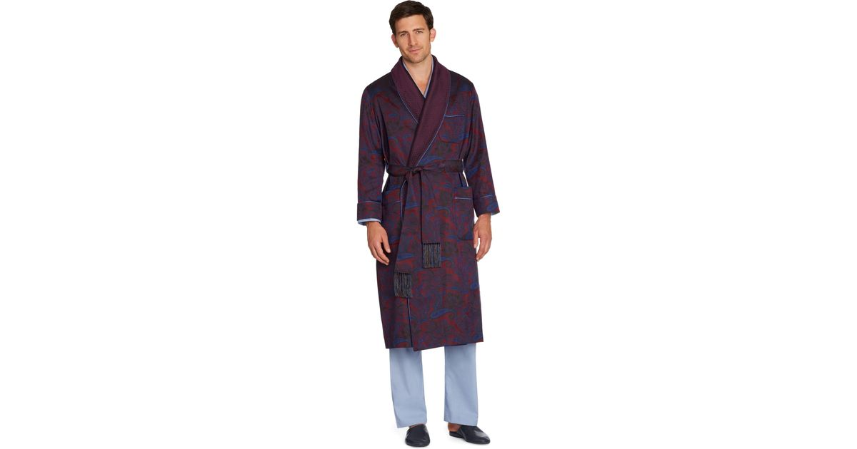 Lyst - Brooks Brothers Silk Paisley Dressing Gown in Red for Men