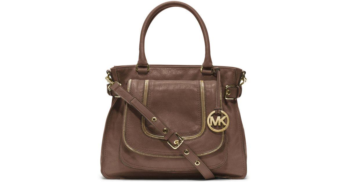 0569485c4 ... straw shoulder bag a2144 3f67d; official lyst michael kors large naomi  satchel in brown 59274 1eb80