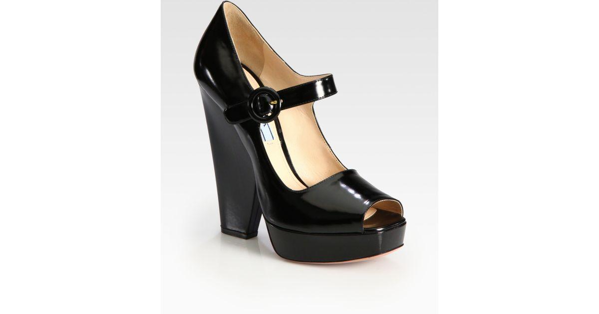 fd63200ff5b Lyst - Prada Patent Leather Mary Jane Platform Pumps in Black