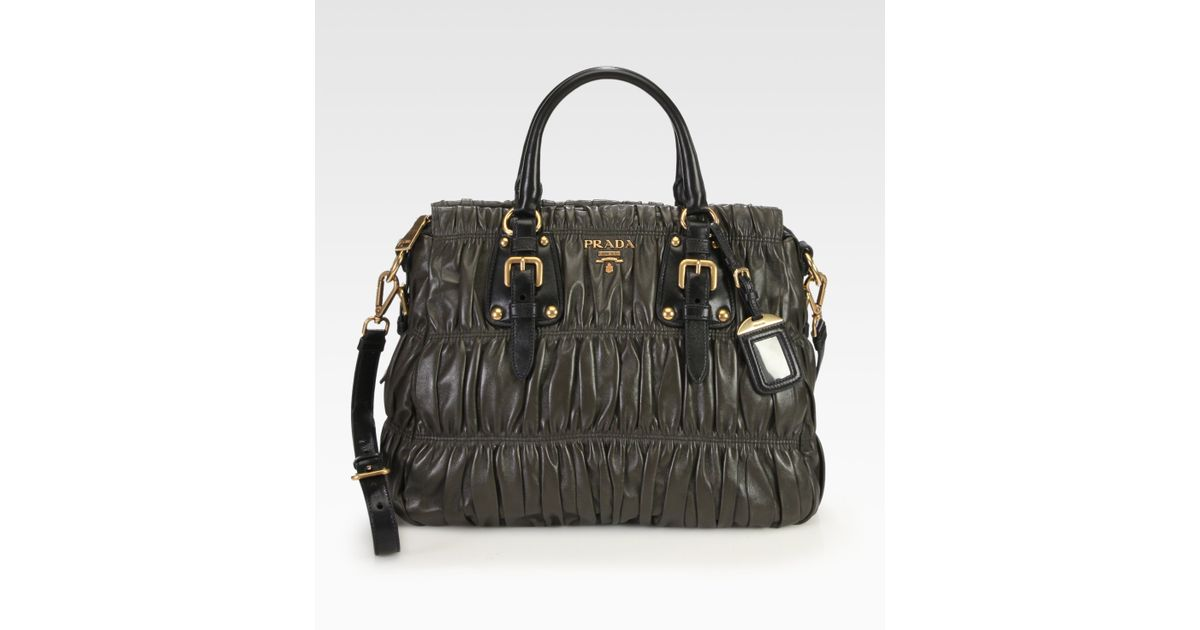 Lyst - Prada Nappa Gaufre Ruched Leather Top Handle Bag in Brown cd7f9ca6fd