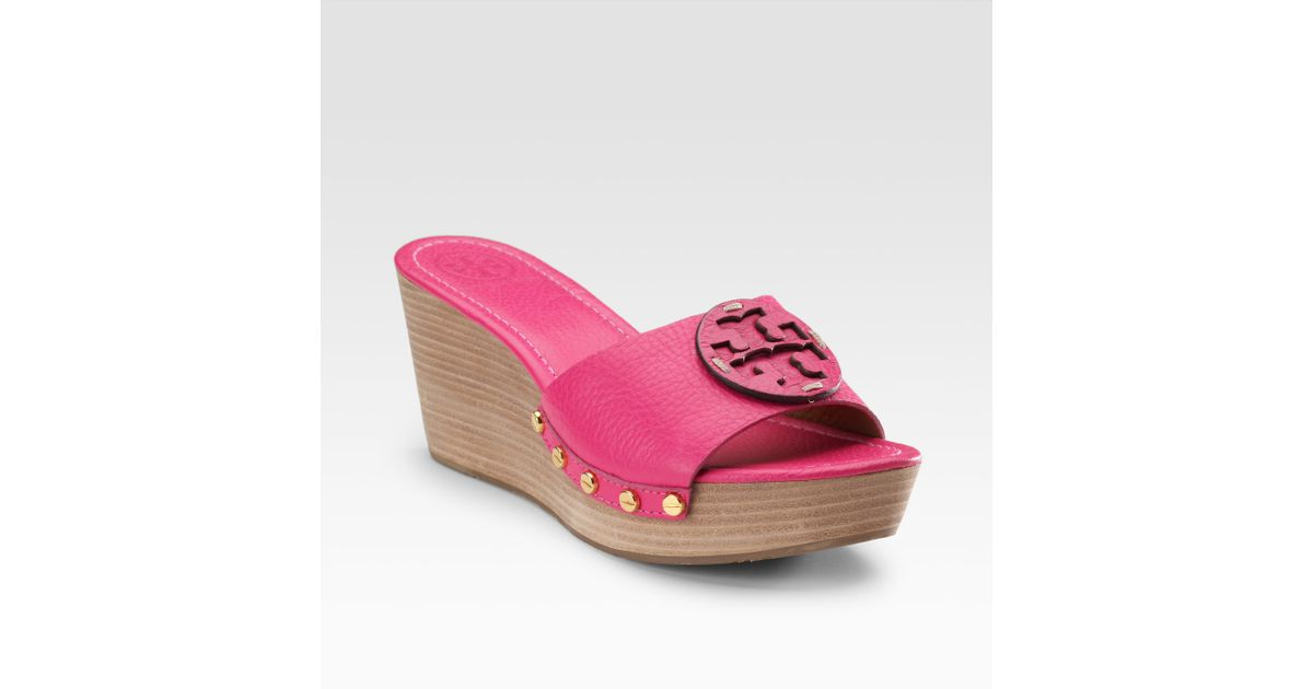 595f186a3 Lyst - Tory Burch Patti Wedge Sandals in Purple