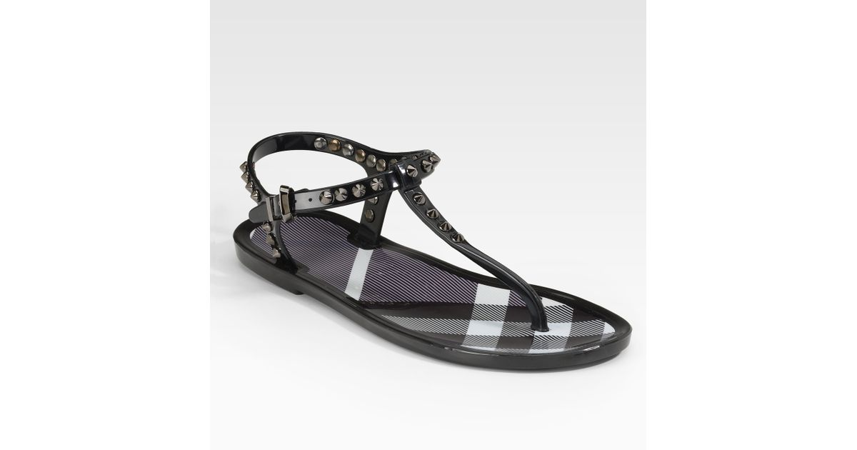 d3f810fd8d6d Lyst - Burberry Jelly Thong Sandals in Black
