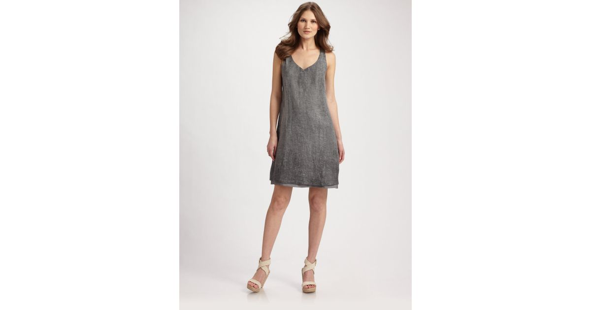 d4074632c1 Lyst - Eileen Fisher Tinted Linen Gauze Tank Dress in Gray