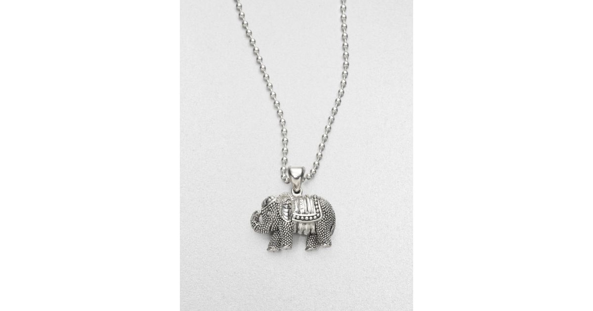 Lyst lagos sterling silver elephant pendant necklace in metallic mozeypictures Image collections