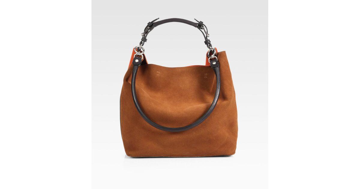 Marni Bicolor Suede Shoulder Bag in Brown | Lyst