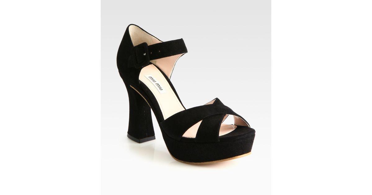 Crisscross Miu Suede Sandals Platform Black zqMGUpSV