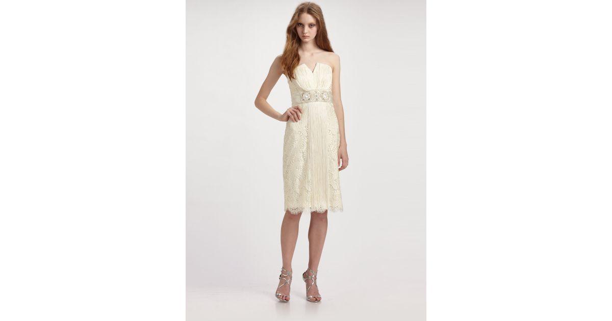Badgley Mischka White Strapless Lace Cocktail Dress Lyst