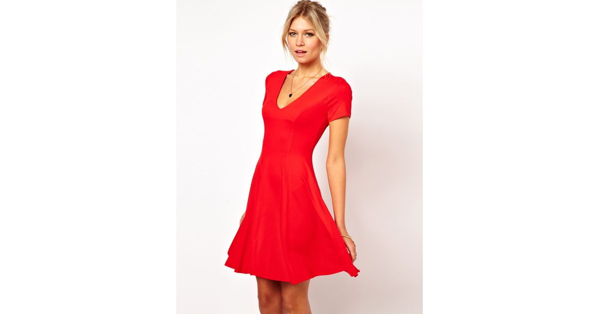 Lyst - ASOS Collection Skater Dress with V Neck and Short Sleeves in Red 458bef78b
